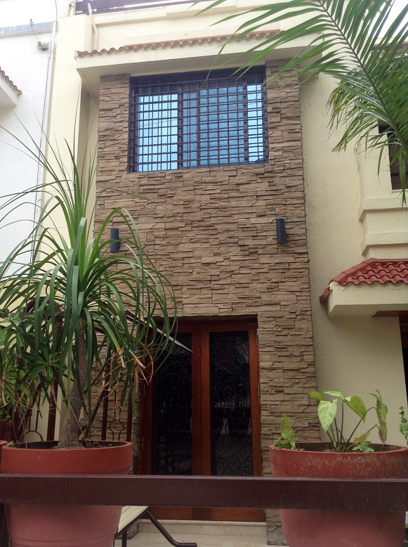 Stonecrete front wall elevation tiles in delhi