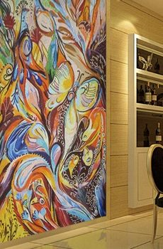 abstract mosaic wall mural