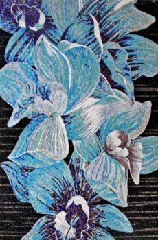 blue glass mosaic mural